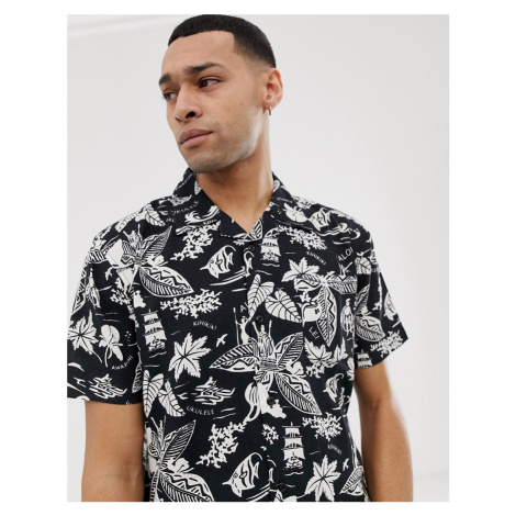 Bellfield shirt with leaf and fish print in black