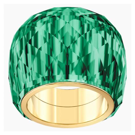 Pierścionek Nirvana Swarovski, zielony, powłoka PVD w odcieniu złota