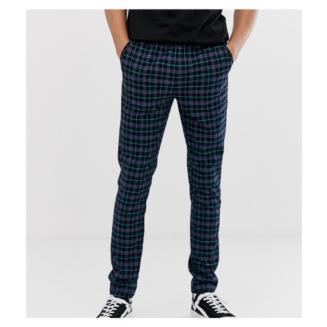 ASOS DESIGN Tall skinny trousers in navy check