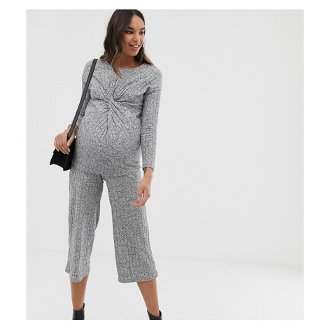 New Look Maternity rib culottes co-ord in grey