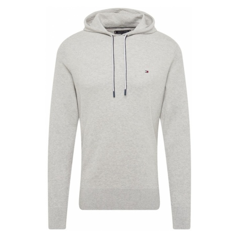 TOMMY HILFIGER Sweter 'COTTON MESH STRUCTURED HOODY' nakrapiany szary