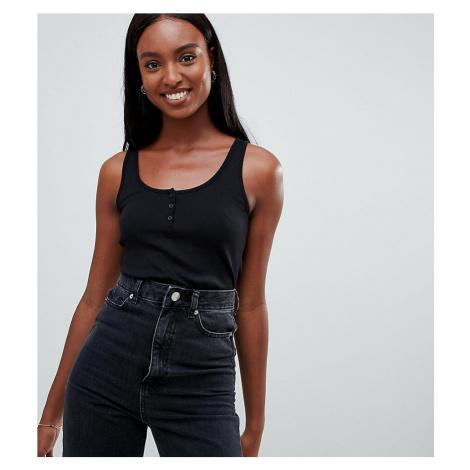 ASOS DESIGN Tall button vest in rib in black