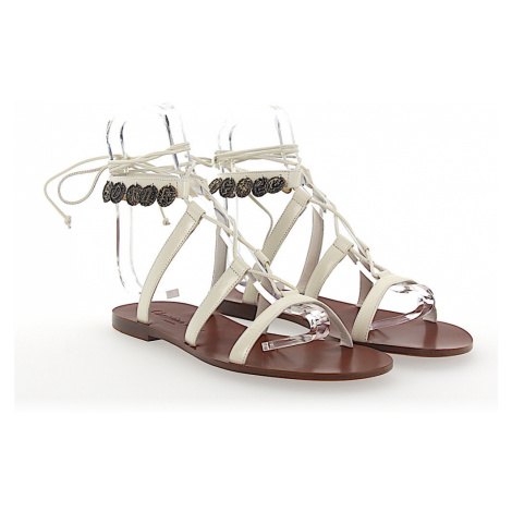 Dior - Buty Sandały ZODIAC skóra białe metal ozdobienia