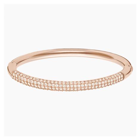 Bransoletka typu bangle Stone, biała, w odcieniu różowego złota Swarovski