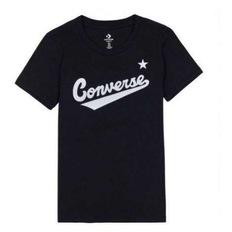 Converse CENTER FRONT LOGO TEE czarny L - Koszulka damska