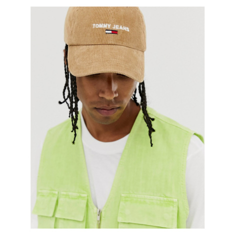 Tommy Jeans cord cap in beige cord with logo Tommy Hilfiger