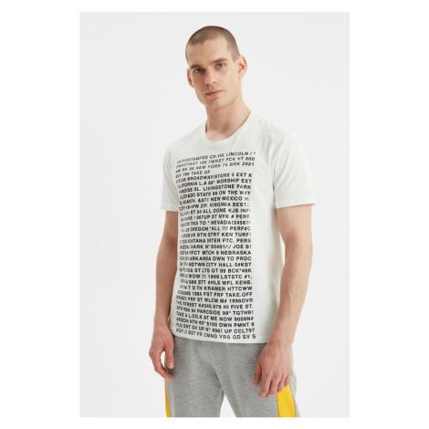 Modyol Ecru Męski t-shirt Trendyol
