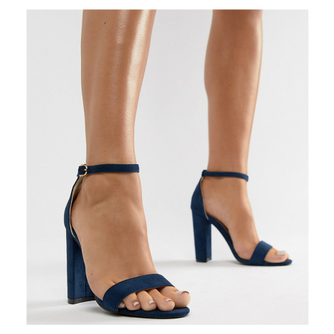 Glamorous Navy Barely There Block Heeled Sandals