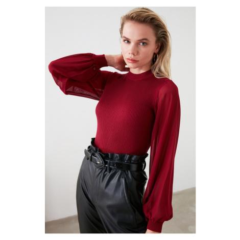 Trendyol Bordeaux Dry Chiffon Garnili Knit Sweater
