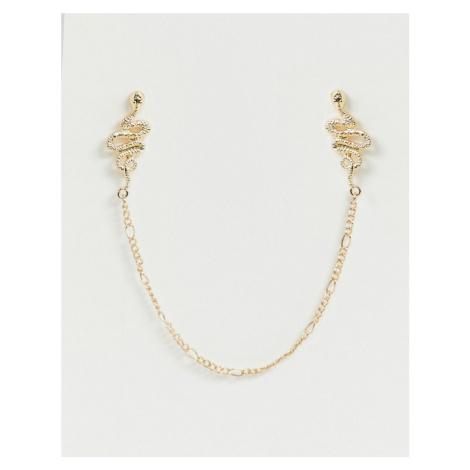 ASOS DESIGN snake collar tips in gold tone