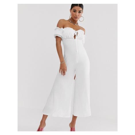 Koco & K off shoulder milkmaid culotte jumpsuit in white