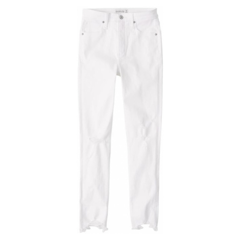 Abercrombie & Fitch Jeansy 'BRAIDED BELT HIGH RISE ANKLE JEANS' biały denim