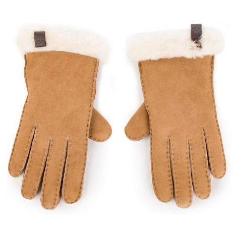 Rękawiczki Damskie UGG - W Shorty Glove W/Leather Trim 17367 Chestnut M