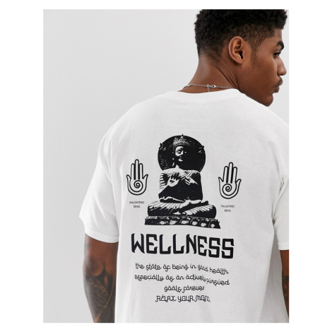 BoohooMAN oversized t-shirt with wellness print in white