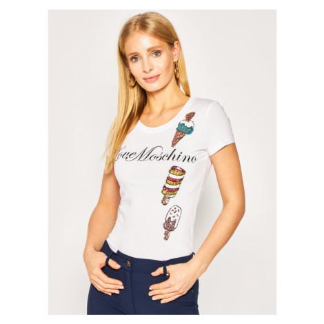 LOVE MOSCHINO T-Shirt W4B195FE 1698 Biały Slim Fit