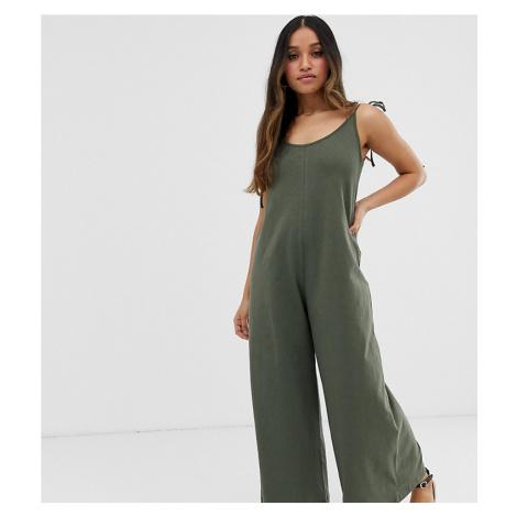 ASOS DESIGN Petite minimal jumpsuit with tie back in linen look