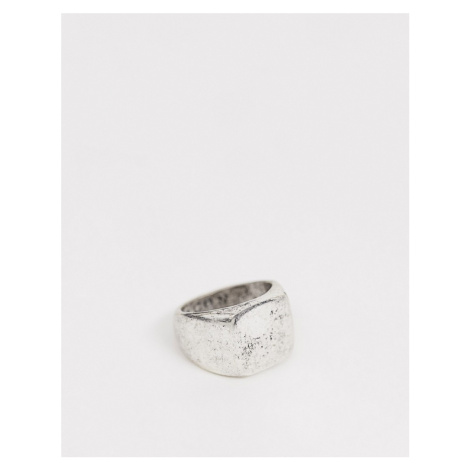 Icon Brand burnished silver square signet ring in silver