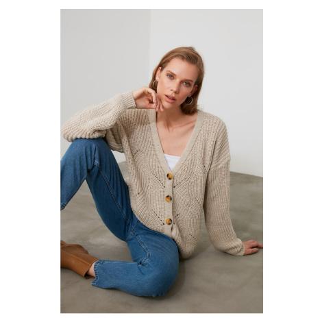 Trendyol Stone Ajurlu Knitwear Cardigan