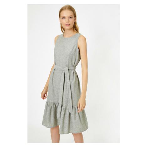 Koton Kobiet Zielony Załoga Szyja Bez rękawów Tie Waist Midi Sukienka
