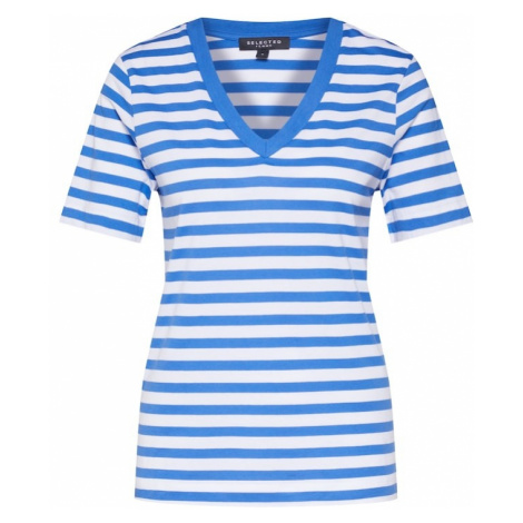 SELECTED FEMME Koszulka niebieski / biały