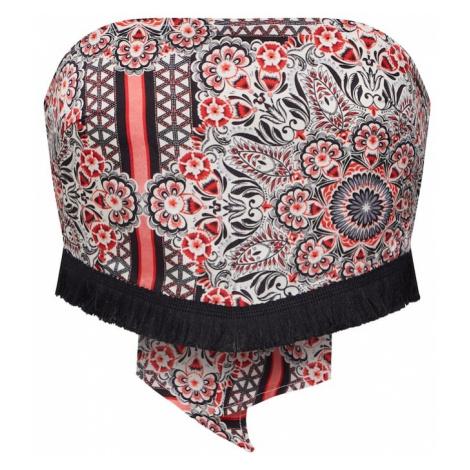 Missguided Top 'Repeat Print Crop Top With Tassel Fringe Hem' czerwony / czarny / biały
