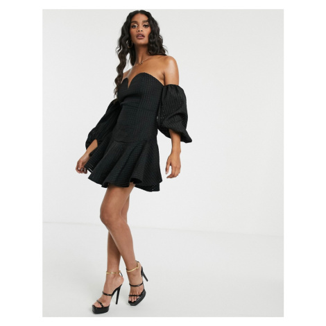 Missguided bardot skater dress with puffball sleeves in black