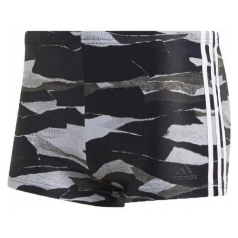 adidas FITNESS 3-STRIPES GRAPHIC SWIM BOXER czarny 9 - Szorty kąpielowe męskie