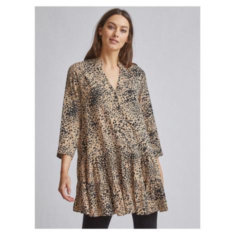 Jasnobrązowa długa bluzka z gepardowym wzorem Dorothy Perkins