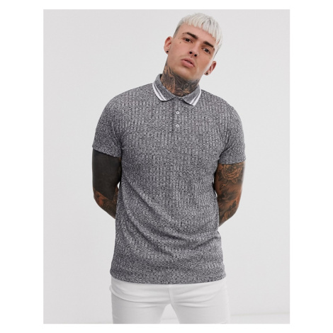 ASOS DESIGN polo shirt in interest rib with contrast tipping