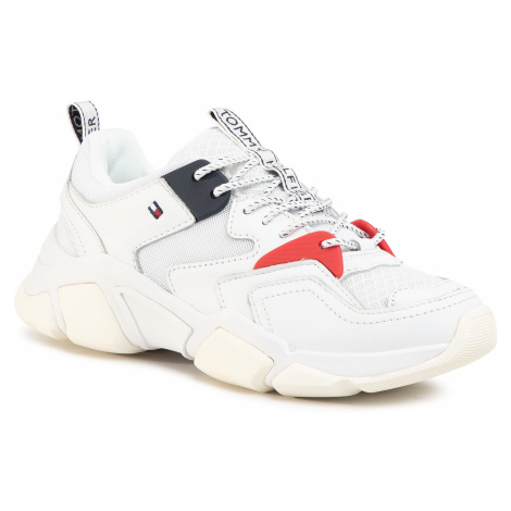 Sneakersy TOMMY HILFIGER - Chunky Mixed Textile Trainer FW0FW04065 White 100