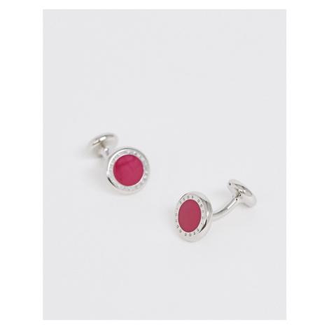 BOSS Tobin round cufflinks in pink Hugo Boss