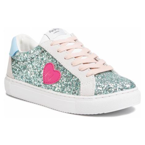 Sneakersy PEPE JEANS - Adams Glitter PGS30437 Light Water Green 647