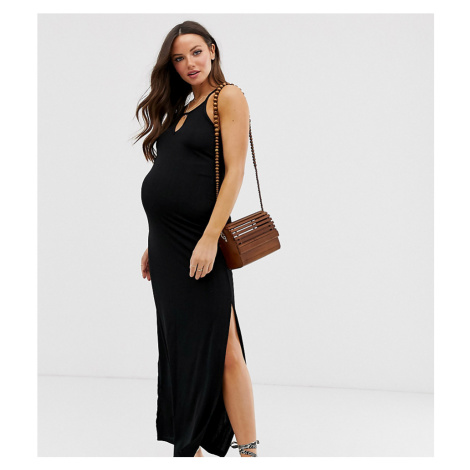 New Look Maternity plisse maxi dress in black