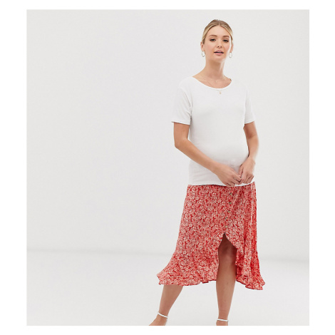 New Look Maternity side button ruffle midi skirt in red floral pattern