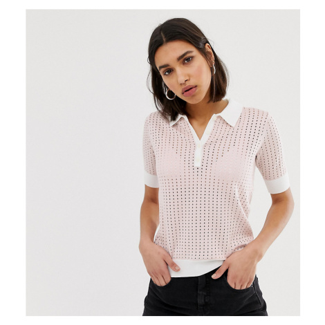 Mango knitted polo top in Pink