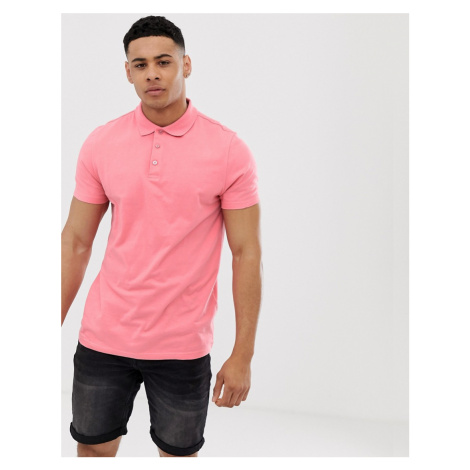 ASOS DESIGN polo in jersey in pink