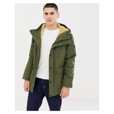 Esprit hooded parka with teddy lining in light khaki