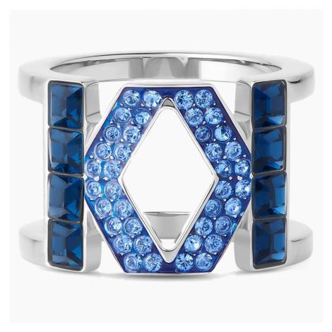 Karl Lagerfeld Logo Ring, Blue, Palladium plated Swarovski