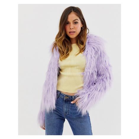 Glamorous faux fur coat in lilac