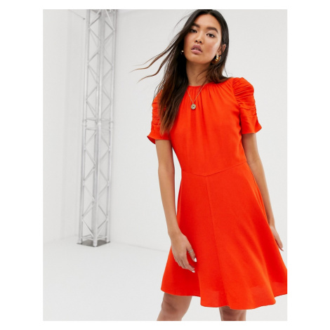 Whistles simone flippy mini dress with puff sleeves