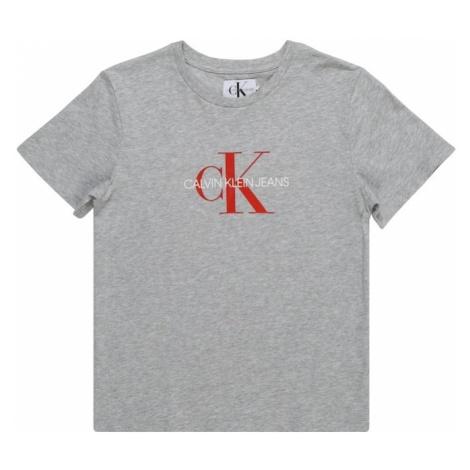 Calvin Klein Jeans Koszulka 'MONOGRAM LOGO' nakrapiany szary