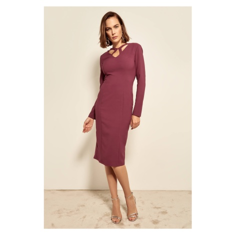 Trendyol Plum Side Cross-linking Detailed Dress