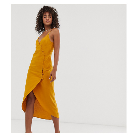 ASOS DESIGN Tall cami wrap maxi dress with button detail