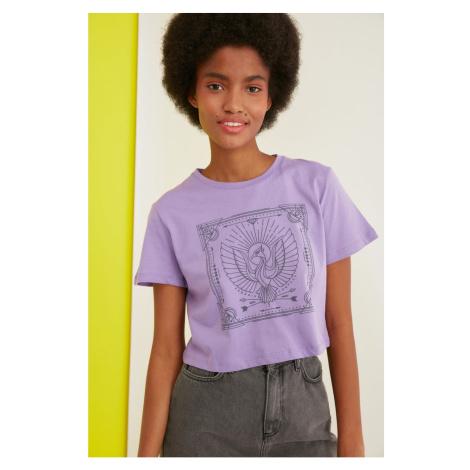 Modyol Lilac Drukowane Crop Dzianina T-Shirt Trendyol