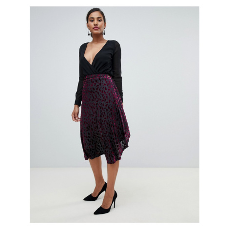 YAS midi wrap skirt in flocked velvet Y.A.S