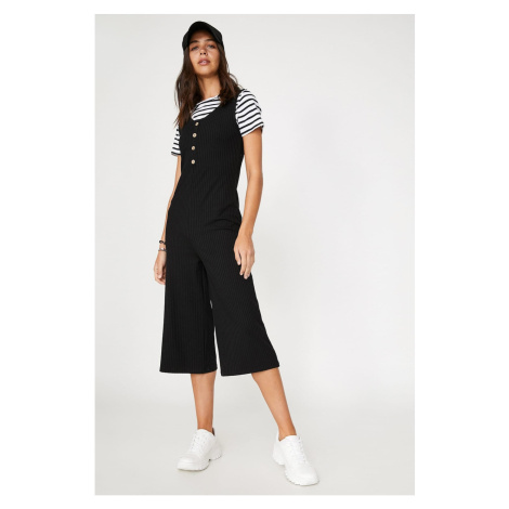 Koton Women's Black V-Neck Sleeveless Button Detailed Jumpsuit