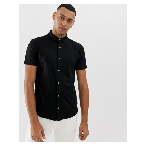 Emporio Armani slim fit short sleeve shirt in black