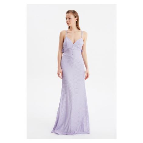Trendyol Lilac Jacquard Satin Evening Dress & Graduation Gown