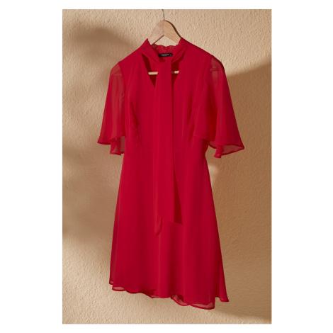 Trendyol Red Scarf Collar Dress