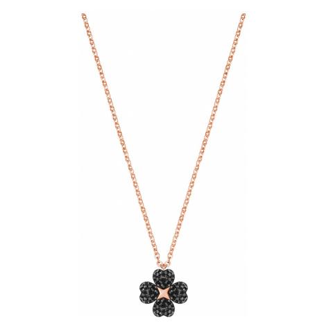 Wisiorek Latisha Flower, czarny, powłoka w odcieniu różowego złota Swarovski
